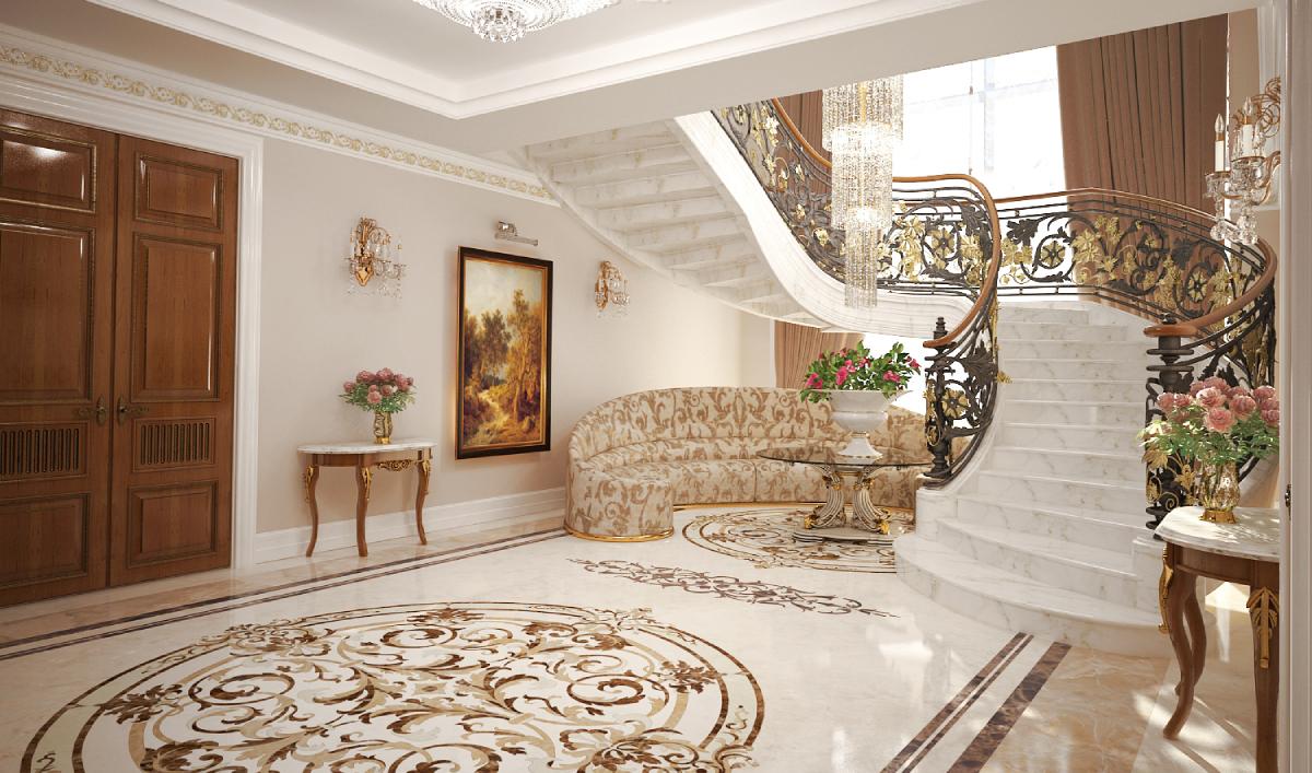 мраморная лестница в интерьере